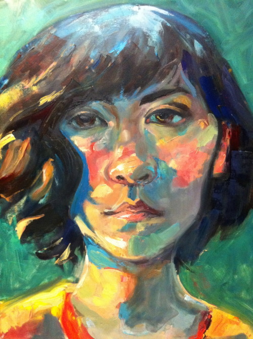 First at-home painting II assignment. Self portrait, exploring color. Oil, 24x30""