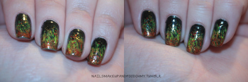 """Girl on Fire"" Nails I went to the premier this morning in my HG shirt, a la Effie make-up and accessories, and my ""Girl on Fire"" nails. I used Smokes and Ashes as the base color, a neon yellow and Riveting as the flames, and Electrify as the embers that were flying off the flames. The three named colors are all from the Capitol Colors Hunger Games collection by China Glaze. Happy Hunger Games!"
