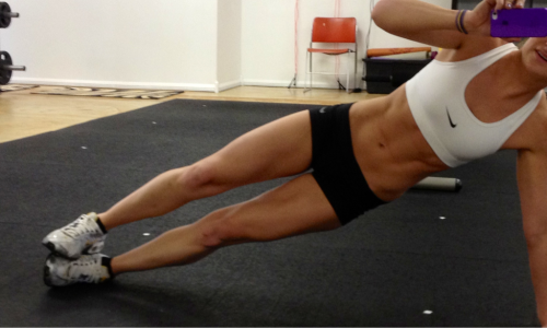 slim-and-svelte:  eatcleanmakechanges:  Side plank with feet stacked= obliques  SHE HAS THE BEST BODY EVER!!!