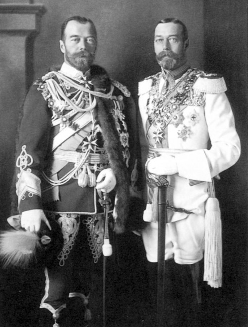 King George V of England with his cousin Tsar Nicholas II of Russia, 1913