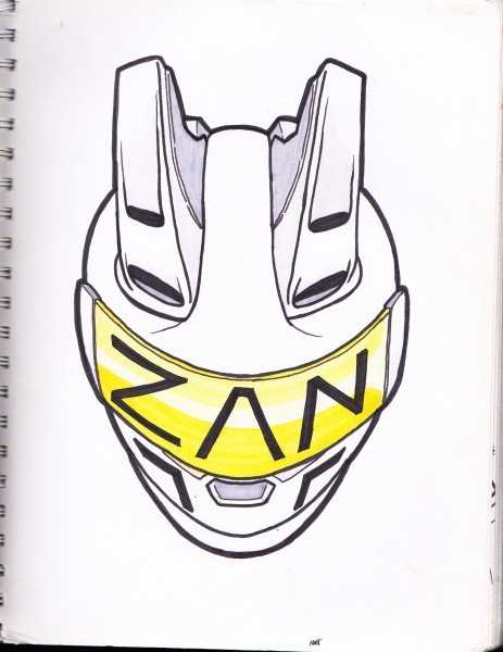 Zan Helmet Planning to use my helmet drawing to represent me and my artwork. also possibly gonna be a character.