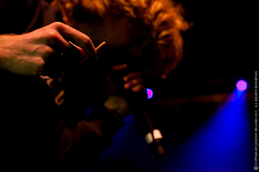 Fan offers Asher Roth a blunt during performance in Dallas. Palladium. March 22, 2012.