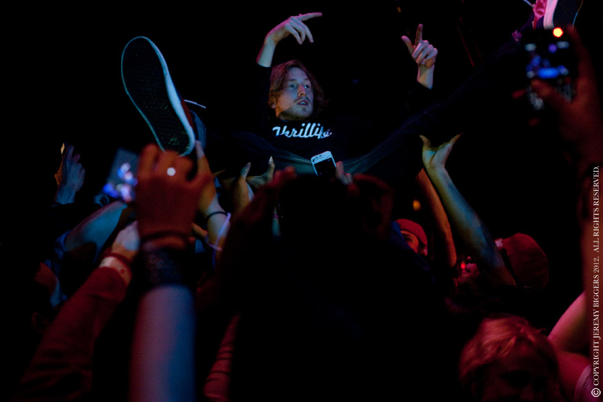 Asher Roth crowd surfing during performance in Dallas. Palladium. March 22, 2012.