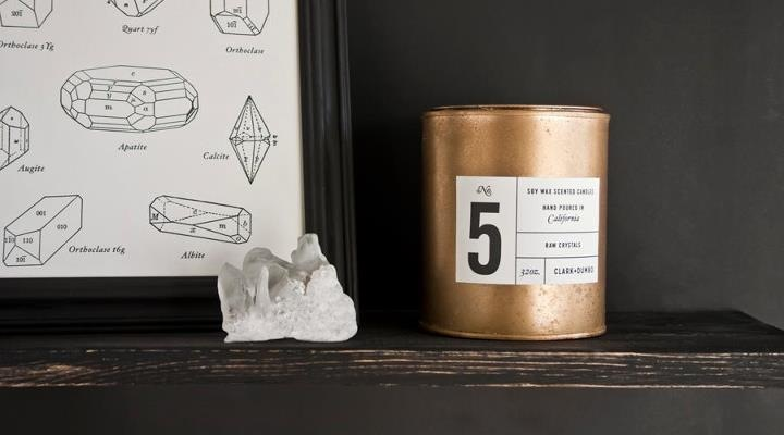 no. 5 Raw Crystals scented candle from Clark & Dumbo Co.
