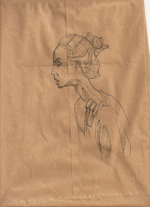 30days-30pages:  Pencil & Pen on FedEx brown paper sleeve Joshua Fortuna