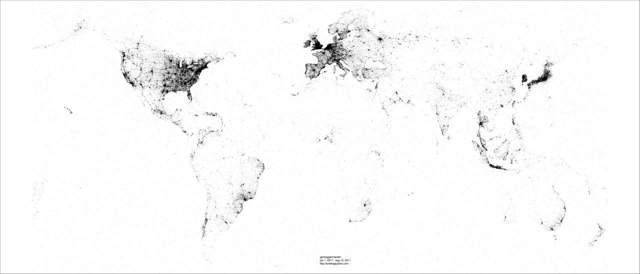 Picture this!  Location and depth of all tweets across the globe.
