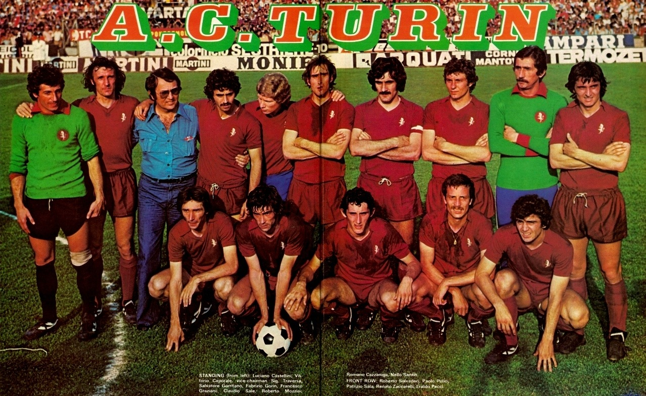 Torino, Italian Champions, 1976.Winning their first national title in the 27 years since the Superga air disaster, Torino became champions for the seventh time in their history. Source: Shoot! Magazine, poster.