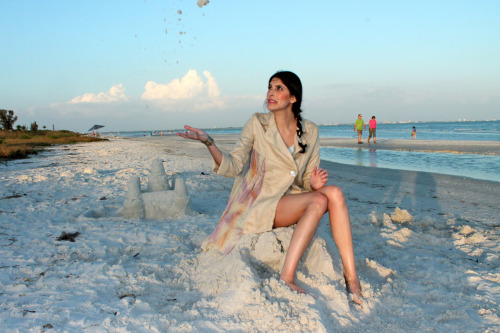 Sneak peak of shoot in Florida! Note the sand castle/victim in background :-)