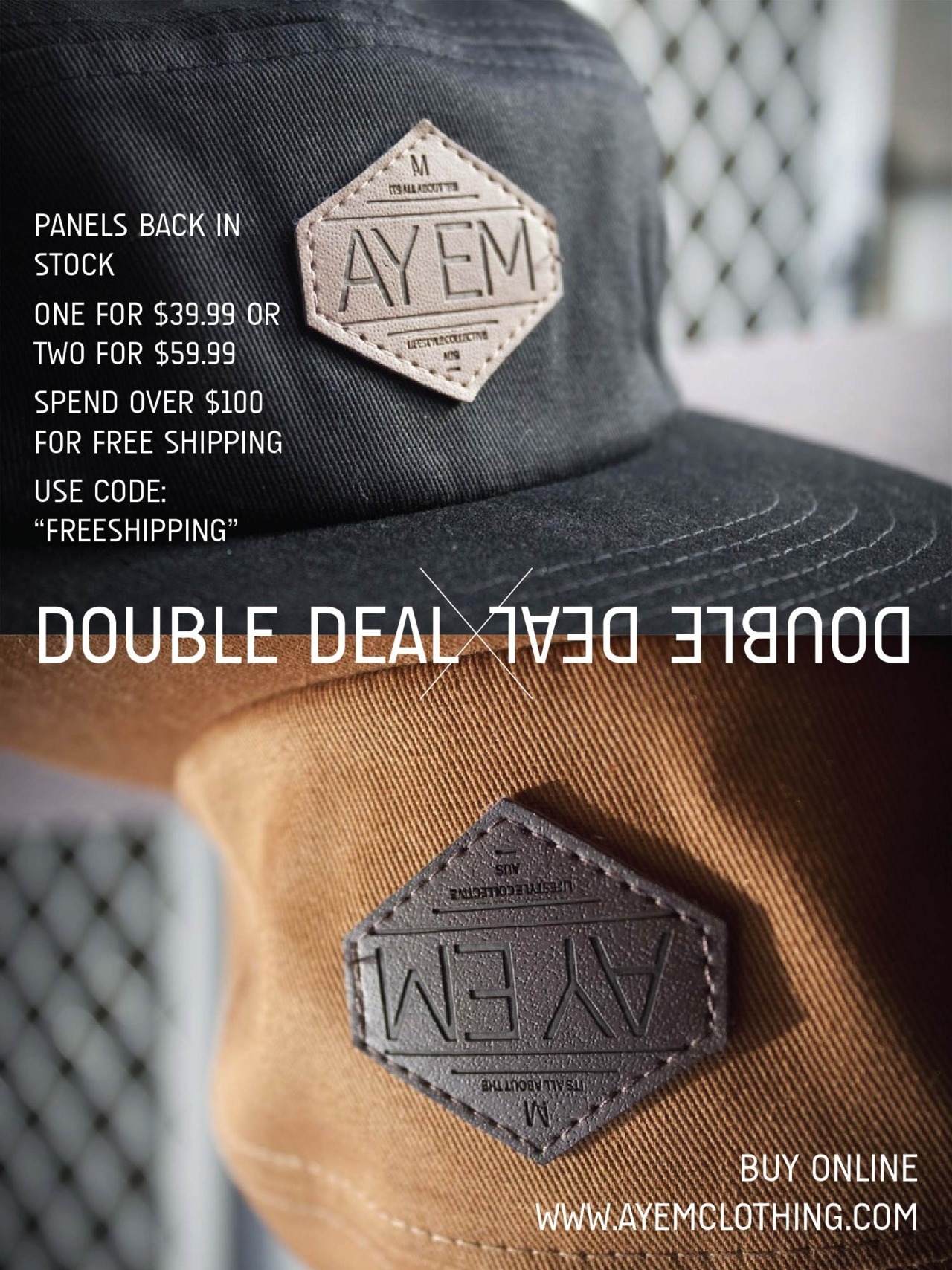 FIVE PANEL - DOUBLE DEAL WWW.AYEMCLOTHING.COM