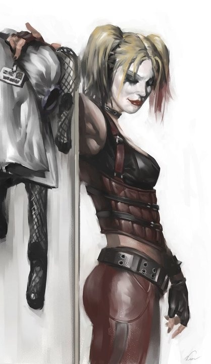 Harley Quinn concept art from Batman: Arkham City.