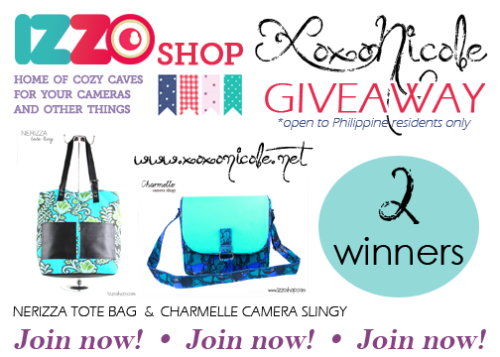 "xoxonicole:  Hello everyone! Have you read my post about Izzo Shop? If you did, then you already know how amazing this shop is! Not just that, (drum rolls please) here's a giveaway to 2 of my lucky followers! First prize // Charmelle Camera Slingy Second prize // Nerizza Tote Bag Here's how you can join: Like XoxoNicole on facebook -  www.facebook.com/xoxonicoletumblr Like Izzo Shop on facebook - www.facebook.com/Izzoshop Follow @xoxonnicole on twitter -  twitter.com/#!/xoxonnicole Follow @izzoshop on twitter -  twitter.com/#!/Izzoshop and tweet ""I want to win @izzoshop bags from @xoxonnicole www.xoxonicole.net #giveaways"" Reblog this post once. (for Tumblr users) Fill-out the form below once. (where the winners will be chosen) Optional mechanics: Follow izzoshop.tumblr.com Add izzoshop.multiply.com as a contact if you have a multiply account Follow @izzoshop on instagram Follow @ohprettynicole on instagram :) Loading… Winner/s should reply within 7 days after I contact her for validation or another winner/s will be chosen. Good luck lovelies! Xoxo!"