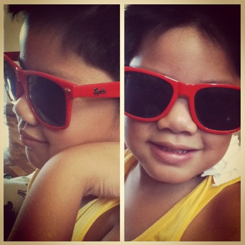 My nephew Zach feeling the summer heat. 😊☀ #nephew #zach #shades #red #rayban #random #love #cute (Taken with Instagram at Ceniza Residence)