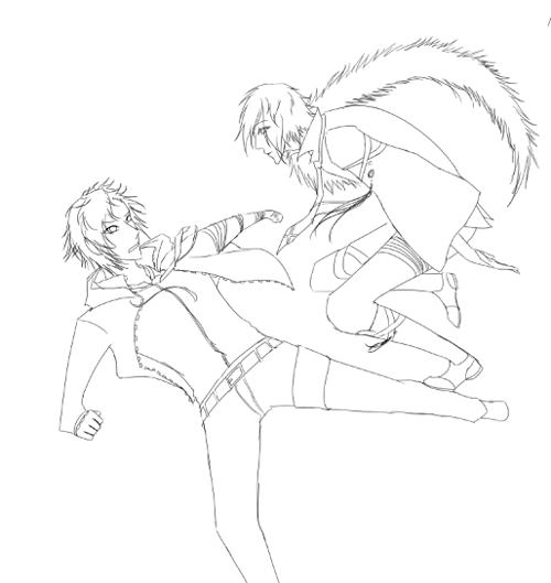 WiP of a large scale sketch………………… I can't get the anatomies right. OTL