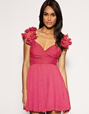 Bow shoulder chiffon baby-doll dress by Asos  $58.00