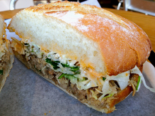 Kalua Pork Sandwich  It's a little out there in a hidden ally, but it's worth the trip. Not exactly the same as their famous pork belly sandwich, but it's got this nice kick from jalapeño.  + presentation + jalapeño - location