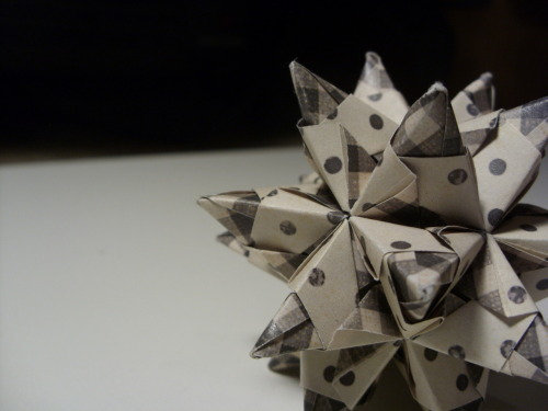 Black/White Plaid/Polka Patterned Dodecahedron Origami Star