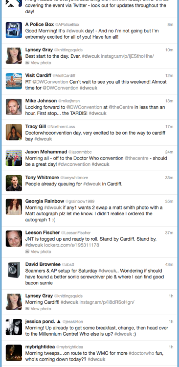 Twitter Search: dwcuk (Doctor Who Convention UK)