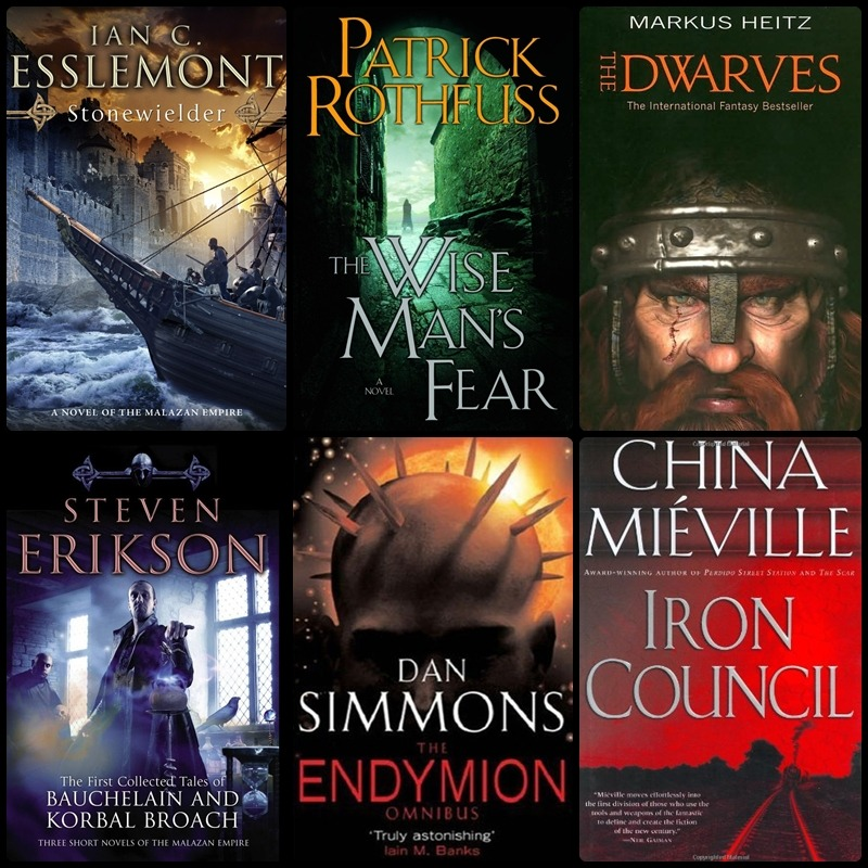 Reading List for March. 1. Stonewielder – Ian C. Esslemont.   DONE Not even close to Erikson's Literature. But, still a good read. 6/10. 2. The Wise Man's Fear- Patrick Rothfuss. DONE So. Fucking. Good. Better than the Name of the Wind, which is saying a lot. Loved it. 9/10. 3. The Dwarves- Markus Heitz. READING Translated from German apparently, and it's obvious that so much has been lost in translation. 4.The First Collected Tales of Bauchelain and Korbal Broach- Steven Erikson. Last remaining piece of literary work by Erikson that I haven't read. Have heard good things. More philosophy, dark humor, and necromancy. 5. The Endymion Omnibus- Dan Simmons. Sequel to Hyperion.  6. The Iron Council- China Mieville. From what I've heard, every book he's written is in some shape or form, a mindfuck. The guy created he's own genre. *shrug*