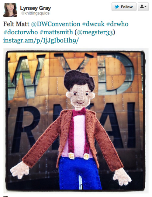 @knittingsquids: Felt Matt @DWConvention #dwcuk #drwho #doctorwho #mattsmith (@megster33)