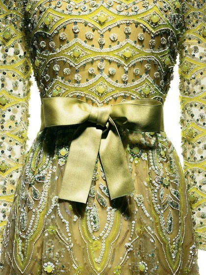 Marc Bohan for Christian Dior, 1972 Evening dress in cigaline, embroidered in absinthe green by Vermont.