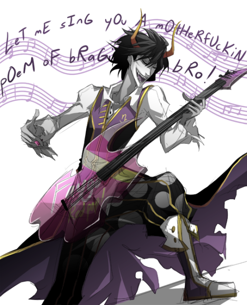 Nattie got me into that ROstuck thing, so yeah, Clown/Minstrel!Gamzee aha… What do you mean the Faygolectric Guitar [1] is not an official item. Don't lie to me, RMS.
