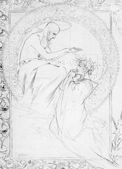 iago-rotten:  Alphonse Mucha | Sketch for a carte-souvenir in memory of the late King of Naples, 1897