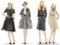 taleofthedream:  Fashion Sketches  love her sketches. very classic silhouettes