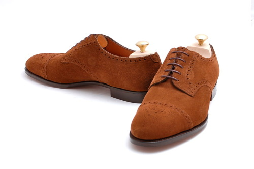 Edward Green Cardiff Cap Toe Coffee Suede Blucher