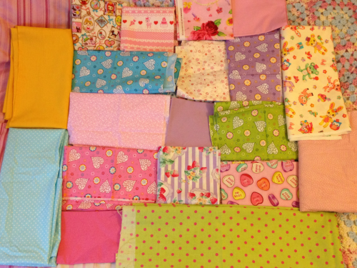 fineandfancy:  Fabrics for a kawaii quilt all laid out!!