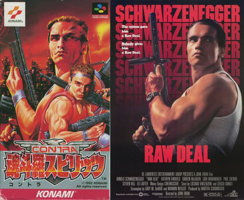 The artist who did the cover for Contra III: Alien Wars in Japan used the Raw Deal movie poster as a reference.
