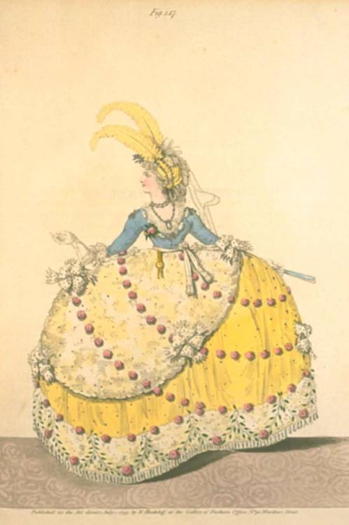 damesalamode:  Gallery of Fashion, Court Dress, July 1797.  You know, Court Dresses of the 1790s will never cease to make me laugh. They are just so hilarious and crazy