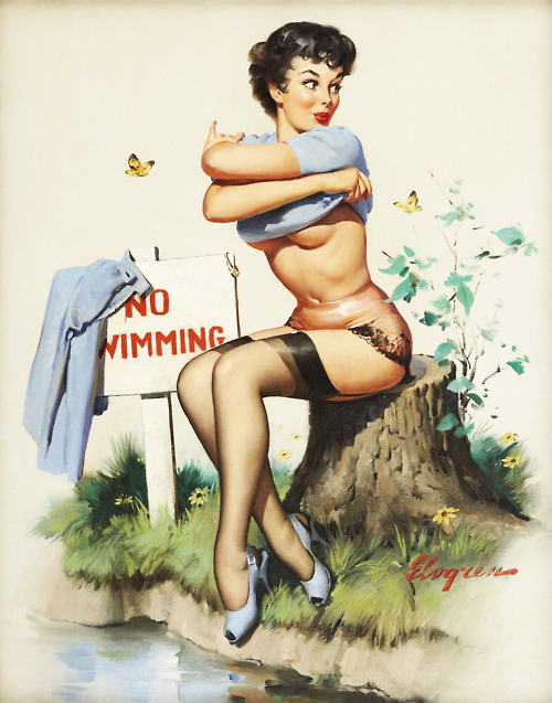 Taking a Chance (A Bikini A Toll) - Gil Elvgren 1962