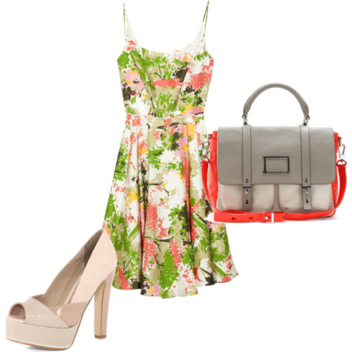 flowers on a grey day by cynthia-coffield featuring nude heelsMilly dress, $385Dorothy Perkins nude heels, $69Marc by Marc Jacobs logo messenger bag, $675