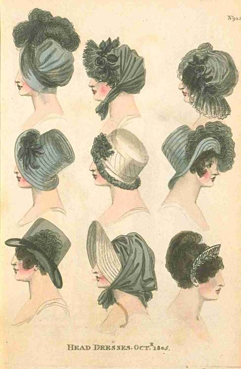 Fashions of London and Paris, Head Dresses, October 1805.  Proof that basic black doesn't have to be boring!  My favorite is actually the little tiara on the bottom right!