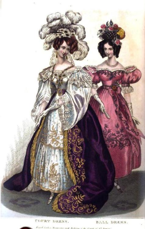 Royal Lady's Magazine, Court and Ball Dress, April 1831.  Holy Cats!  This is magnificent.  Look at that glorious overskirt!  Gold and purple are always so stunning together!  And her headdress!  All the feathers!  Exclamation point! (And I guess that pink gown is pretty great, too.)