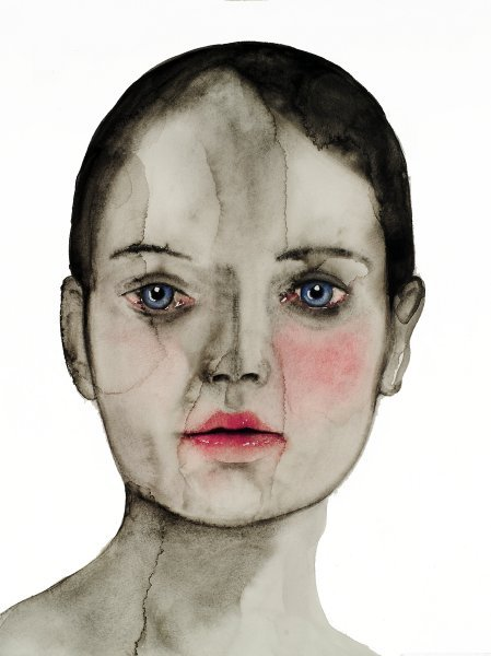 2headedsnake:  aroshataglia.com Emilia Faro, black haired girl, 2009, 40 x 30cm