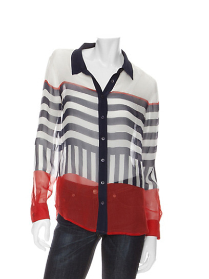 Trend alert: Style up your look with a contrast-collar blouse, like this striped top from Equipment. Check out more top picks here » intermixonline.com