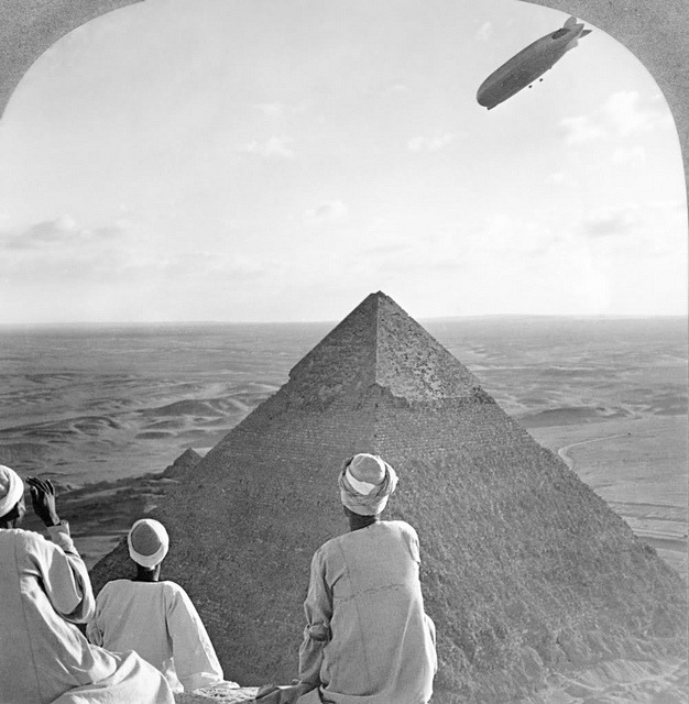 Graf Zeppelin over the Pyramids by amphalon on Flickr.