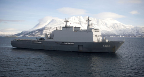 The vessel HMNLS Rotterdam from the Netherlands during the exercise Cold Response 2012