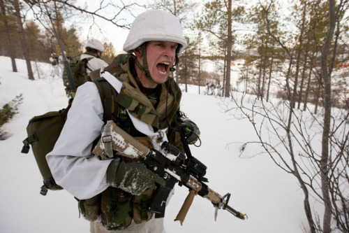 Dutch Marines of the 2. Battalion during the exercise Cold Response 2012