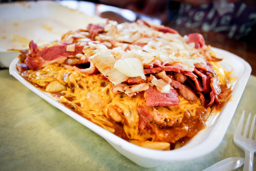 Chili Cheese Fries with Grilled Onions and Pastrami by grayslim on Flickr.