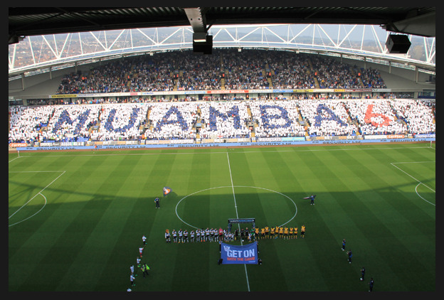 Pre-match card mosaic at the Reebok Stadium today before Bolton-Blackburn.