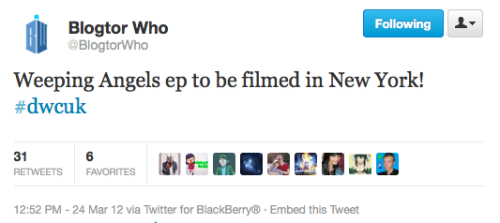 @BlogtorWho: Weeping Angels ep to be filmed in New York! #dwcuk