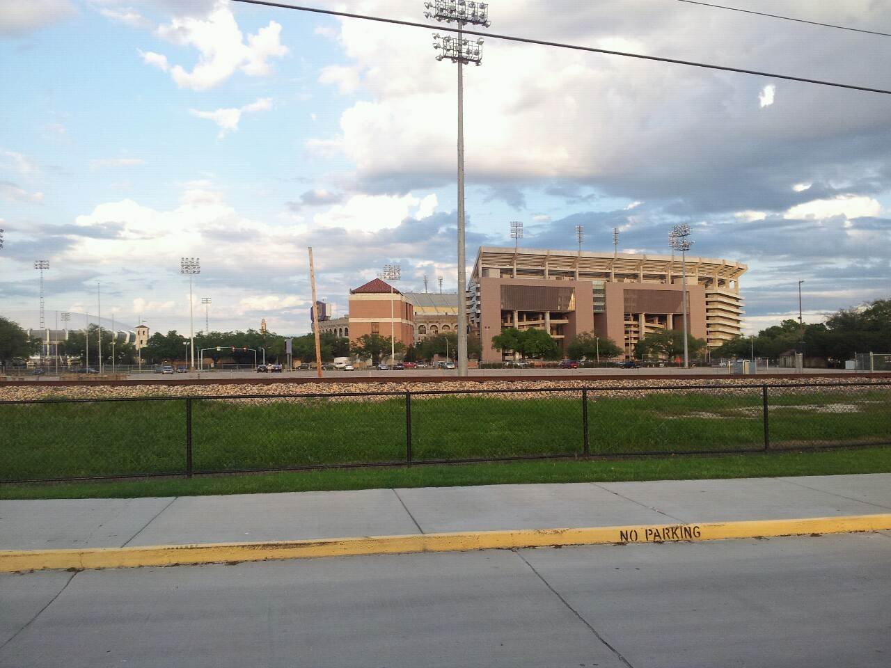 LSU's Tiger Stadium as seen from the practice facility.