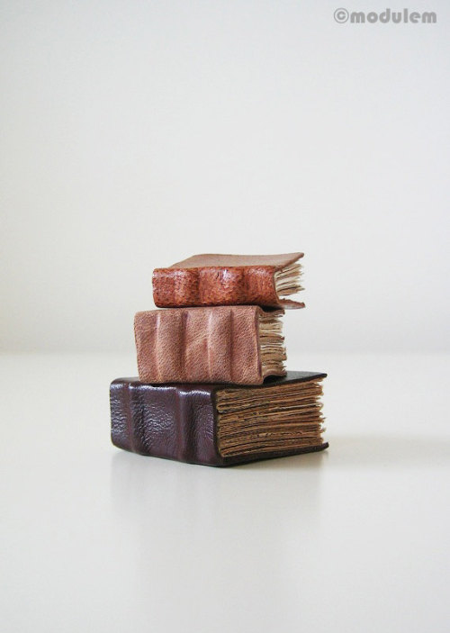 I've upcycled some vests and jackets into these miniature leather books with tea-stained paper (via modulem on etsy).