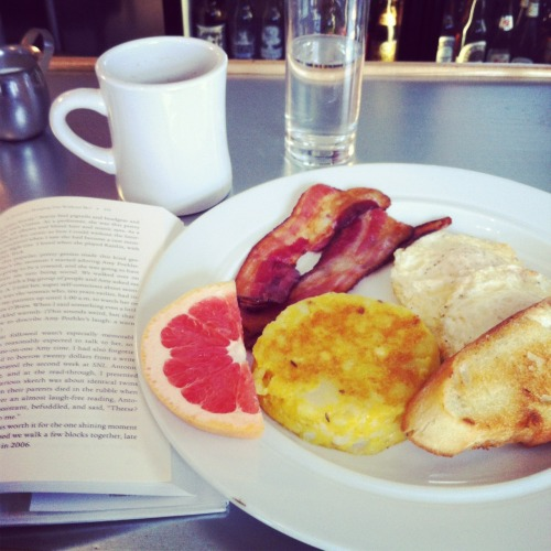 Solo breakfast. Foggy morning.Counter seat._________________________________(The book is Is Everyone Hanging Out Without Me? recommended by and borrowed from Kate. I started it a little over twenty-four hours ago, I'm almost finished, and now I really want to hang out with Mindy Kaling.)