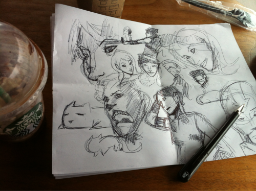I'm at Starbucks doodling on some paper that was folded in my pocket.