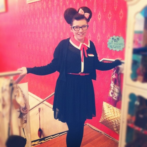 Today I am Minnie Mouse #outfit #fashion #hair #me (Taken with instagram)