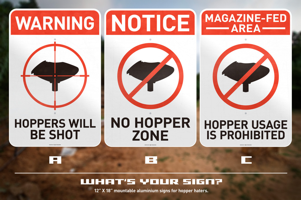 "What's your sign?12"" X 18"" mountable aluminium signs for hopper haters. Which one would you want? We will probably make all three, but only one at time. So pick your favorite.You can vote in the comments or use the poll on our Facebook wall.Like. Share. Vote. And the more you do, the sooner we can GIVE SOME OF THESE AWAY!"
