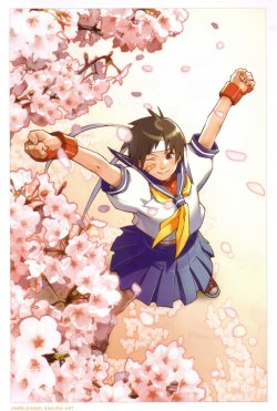 allfightinggameladies:  Sakura Kasugano.  I've seen this attributed to Edayan, but I'm not positive it's his?  Yell at me if you know better!  Regardless, this is one of my favorite pictures of her.